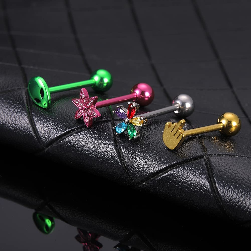 WASOLIE 4Pcs 14G Stainless Steel Tongue Piercing Barbells Multicolor Nippleings Ring Body Piercing Jewelry for Women