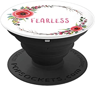 Whimsical FEARLESS Floral Wreath Poppy Watercolor Art - PopSockets Grip and Stand for Phones and Tablets