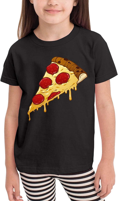 Pepperoni Pizza Slice Cartoon Children's T-Shirt,Short Sleeve Cotton Shirts Boys Girls Tee Tops for Summer