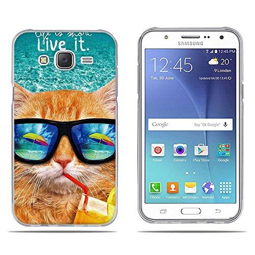 FUBAODA Funda Carcasa para para Samsung Galaxy J5 (J500F) 2015, Dibujo con Estilo[Beber Gato] Carcasa Protectora de Goma de Altisima Calidad para para Samsung Galaxy J5 (J500F) 2015 (5.0