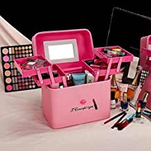 RONTENO Leather Multi Grid Cosmetic Storage Box With Mirror Make Up Box, Assorted Color (Pink)
