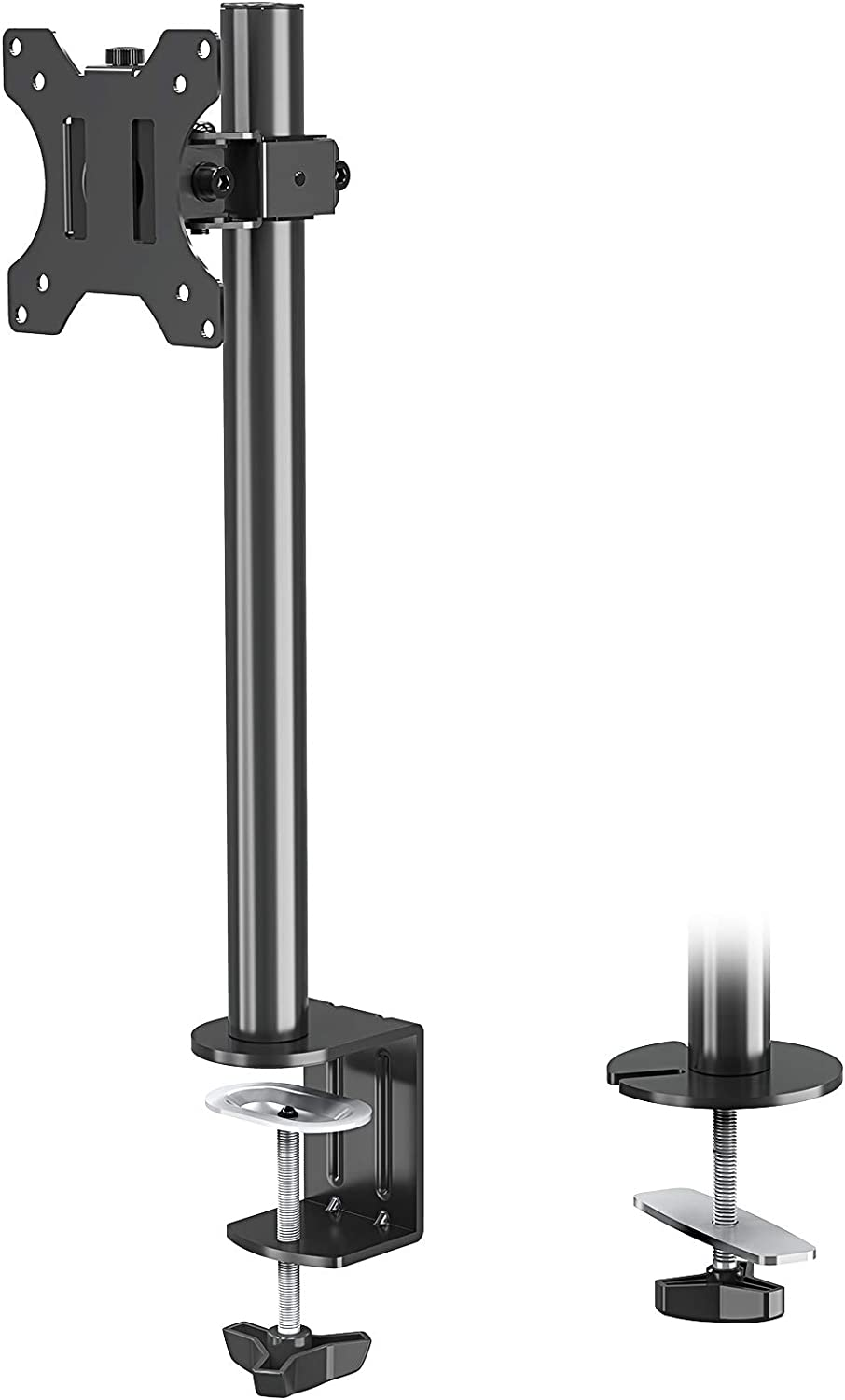 MOUNTUP Single Monitor Mount, Adjustable Monitor Stand for Max 32 Inch Flat Curved Computer Screen, Monitor Arm Desk Mount Fit VESA 75x75& 100x100, up to 17.6lbs, with C-Clamp and Grommet Base, Black