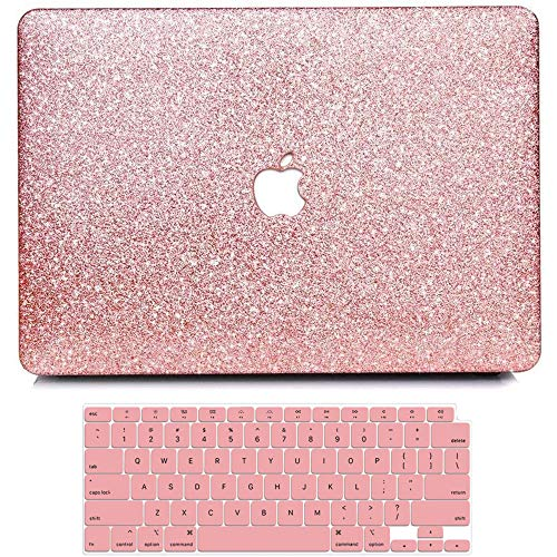 BELK MacBook Air 13 Inch Case 2020 2019 2018 Release A2337 M1 A2179 A1932, Bling Girly Crystal Smooth PU Leather Coating Plastic Hard Case with Keyboard Cover Retina & Touch ID, Mac Air 2020 M1 Case