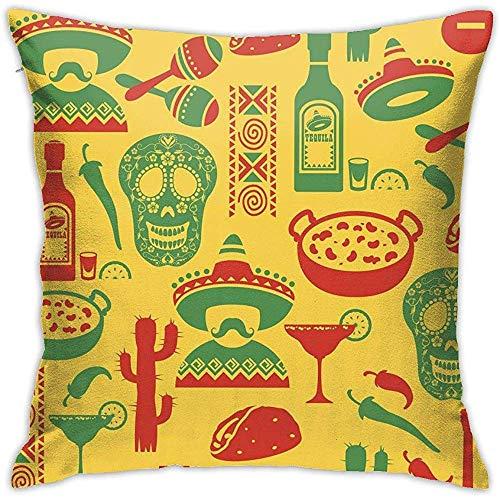 Sherry-shop México Sugar Skull Style Decoraciones diarias Sofá Funda de Almohada Fundas de Cojines