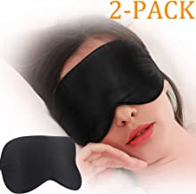 Eye mask for Sleeping, Comsun 2 Pack Silk Sleep Eye Mask, Blindfold for Travel, Vacation, Shift Work, Naps, On The Plane 100% Natural Silk (One Strap Design)