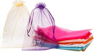100 Pack 8x12 Inches Organza Gift Bags 10 Mixed Solid Colors for Toys Candy Chocolate Party Christmas Wedding Favor Gift