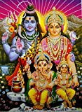 Lord Shiva Family/Hindu God Poster with Glitter-Reprint on Paper (Unframed : Size 12'X16' Inches)