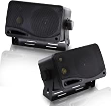 3-Way Indoor Outdoor Speaker System - 3.5 Inch 200W Pair of Mini Box Ceiling Wall Mount Speakers w/ 1