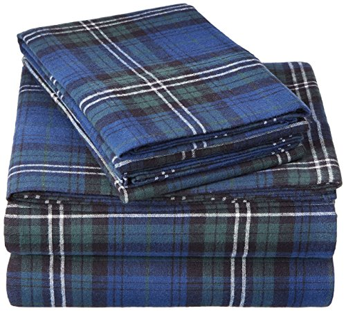 Pinzon Plaid Flannel Bed Sheet Set  King Blackwatch Plaid