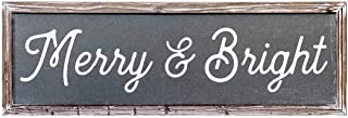 Sweet Water Decor Merry and Bright Wood Sign 8x24 Holiday Signs Christmas Decor Rustic Home Decor Farm Farmhouse Decorative Country Decorations