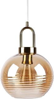 Huahan Haituo Bursztyn szklany wisiorek światło vintage przemysłowe metal wykończenie szklana kula cień z polerowanym mosi...