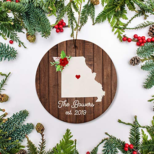 Lplpol 3 inch Circle Ceramic Ornament Decorative Ornament Missouri Christmas Ornament New House Graduate First Year At College Just Moved New Job Ornament Personalized 2020 Personalized Home Ornament