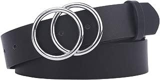 Women's Leather Belt Fashion Double O Ring Buckle Designer Belts for Pants Jeans Dresses