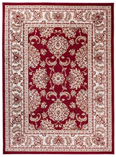 Traditioneller Klassischer Teppich für Ihre Wohnzimmer - Weinrot Creme Beige - Perser Orientalisches Muster - Ferahan-Ziegler Ornamente - Top Qualität Pflegeleicht
