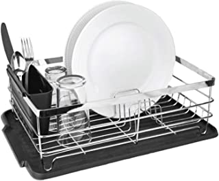 """Cuisinart 3-piece Stainless Steel Dish Drying Rack, Set includes Wire Dish Drying Rack, Utensil Caddy, and Detachable Dish Draining Board, 17.3"""" x 12.5"""" x 5.6""""- Stainless Steel/Black"""