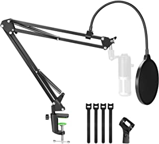 Microphone Stand, AGPTEK Upgraded Version Microphone Suspension Scissor Arm Stand with Pop Filter, Cable Ties and Micropho...
