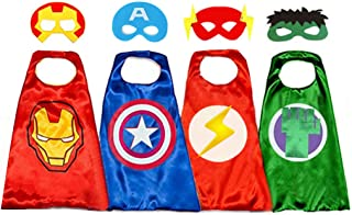 Superhero Capes for Kids, 8 Heroes Reversible Satin Capes and Masks for Dress Up Costumes(4 Cape, 8 Mask)