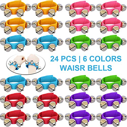 ZISUEX 24PCS Band Wrist Bells Jingle Bells Instrument Percussion Musical Orchestra Rattles Party Favors Toys Wrist Bells and Ankle Bells KTV Birthday Gifts