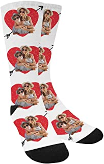 Custom Personalized Photo Pet Face Printed Father's Day I Love Dad Crew Socks for Men Unisex
