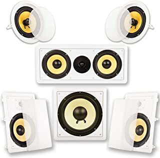"Acoustic Audio by Goldwood Acoustic Audio HD518 in-Wall/Ceiling Home Theater 8"" Surround 5.1 Speaker System, White"