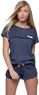 Sensis - Conjunto de ropa de noche de moda de algodón y pantalones cortos de coqueta, diseño de lunares, color azul marino, talla M (38)