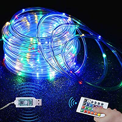 Yowin Rope Lights, 10M 100 LEDs RGB Outdoor Color Changing Fairy String Lights, 4 Modes 16 Colors USB Powered Rope Tube Lights with Remote, Waterproof for Halloween Christmas Party Indoor Decoration