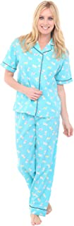 Alexander Del Rossa Women's Lightweight Button Down Pajama Set, Short Sleeved Polka Dot Cotton Pjs