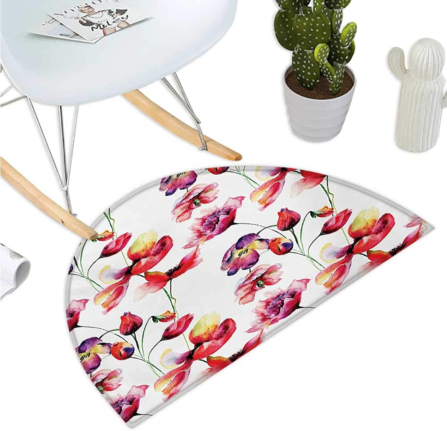 Tulip Semicircular Cushion Pastel colord Blooming Grungy Uneven Tulip and Poppy Flower Patterns Nature Theme Entry Door Mat H 35.4  xD 53.1  Red White