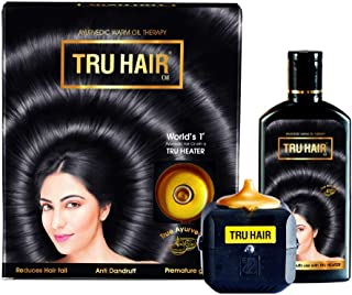 TRU HAIR Ayurveda Herbals Hair Oil for Hair Growth and Delay Hair Greying 110ml with Tru Heater