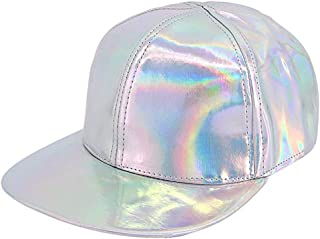 Orita Baseball Cap Casual Cap New Laser Summer Visor Cap Sun Hat Shiny Holographic with Adjustable Strap Silver