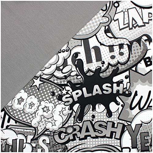 Paquete de tela 0,5 m de jersey + 0,5 m de tela para puños para coser ropa infantil, tejido de jersey (Comic sw/ws, color gris helado (set13))