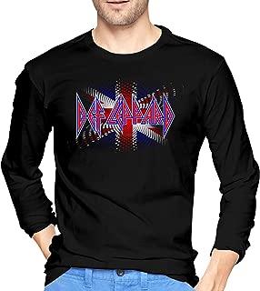 Def Leppard Union Jack Men's T-Shirt Crew Neck Print Long Sleeve Tee Tops Black