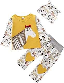 Infant Baby Boy Girl 3D Tassels Horse Printing Pullover T-Shirt Tops Floral Heart Long Pants with Hat Fall Outfit Clothes