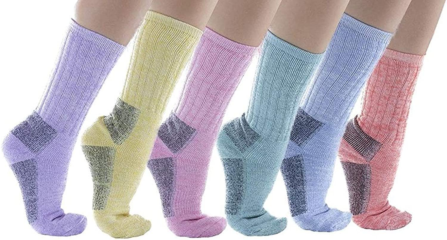 Womens 6 Pack Of excell Merino Wool Thermal Socks, Bright Fun colors