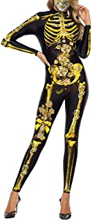 KIRJAUDU Women Halloween Cosplay Costume 3D Skeleton Print Bodycon Catsuit Jumpsuit