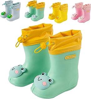 Fadezar Botas de goma para niños, jóvenes, niñas, suaves, resistentes al agua, luz, diseño de dinosaurios, antideslizantes...