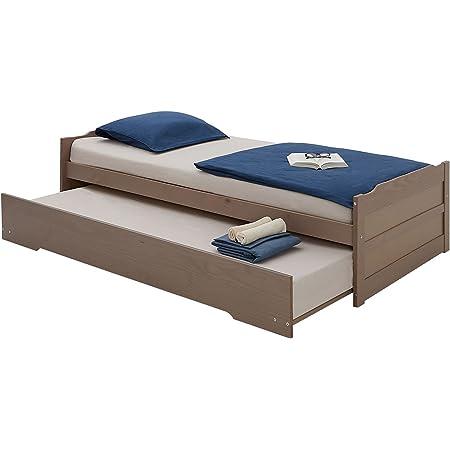 IDIMEX Lit gigogne Lorena 1 Place tiroir lit Simple Fonctionnel pour Enfant 90 x 190 cm en pin Massif lasuré Taupe