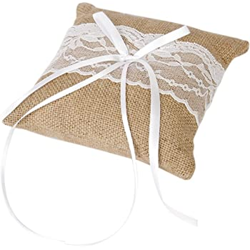 Tinksky Vintage Burlap Lace Bridal Wedding Ceremony Pocket Ring Bearer Pillow Cushion 1515cm