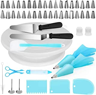 MY 52 Pcs Cake Decorating Supplies Kit for Beginners - Turntable Stand- Cake Server & Knife Set-36 Easy to Use Icing Tips ...
