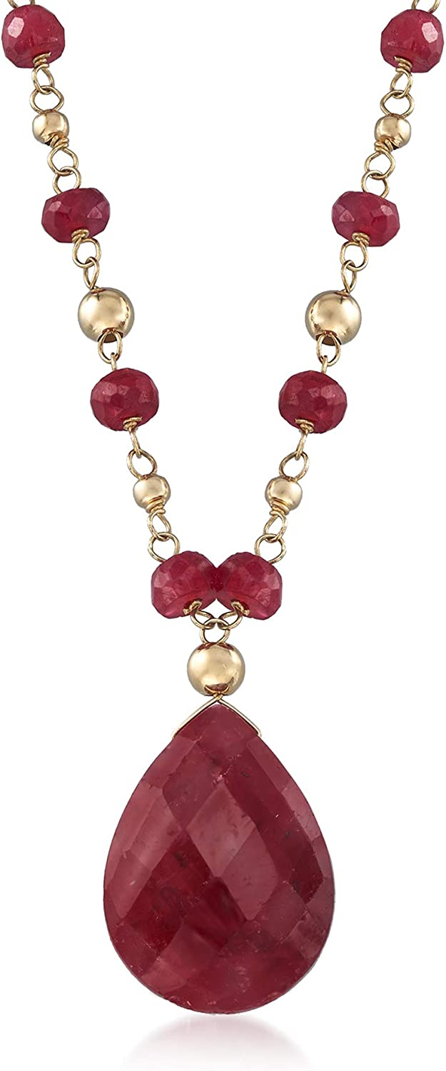 half Ross-Simons 24.00 ct. t.w. Ruby in Philadelphia Mall 14kt Station Necklace Yellow
