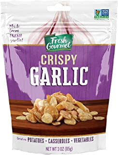 Fresh Gourmet Crispy Lightly Seasoned Crispy Garlic   3 Ounce, Pack of 6   Low Carb   Crunchy Snack and Salad Topper