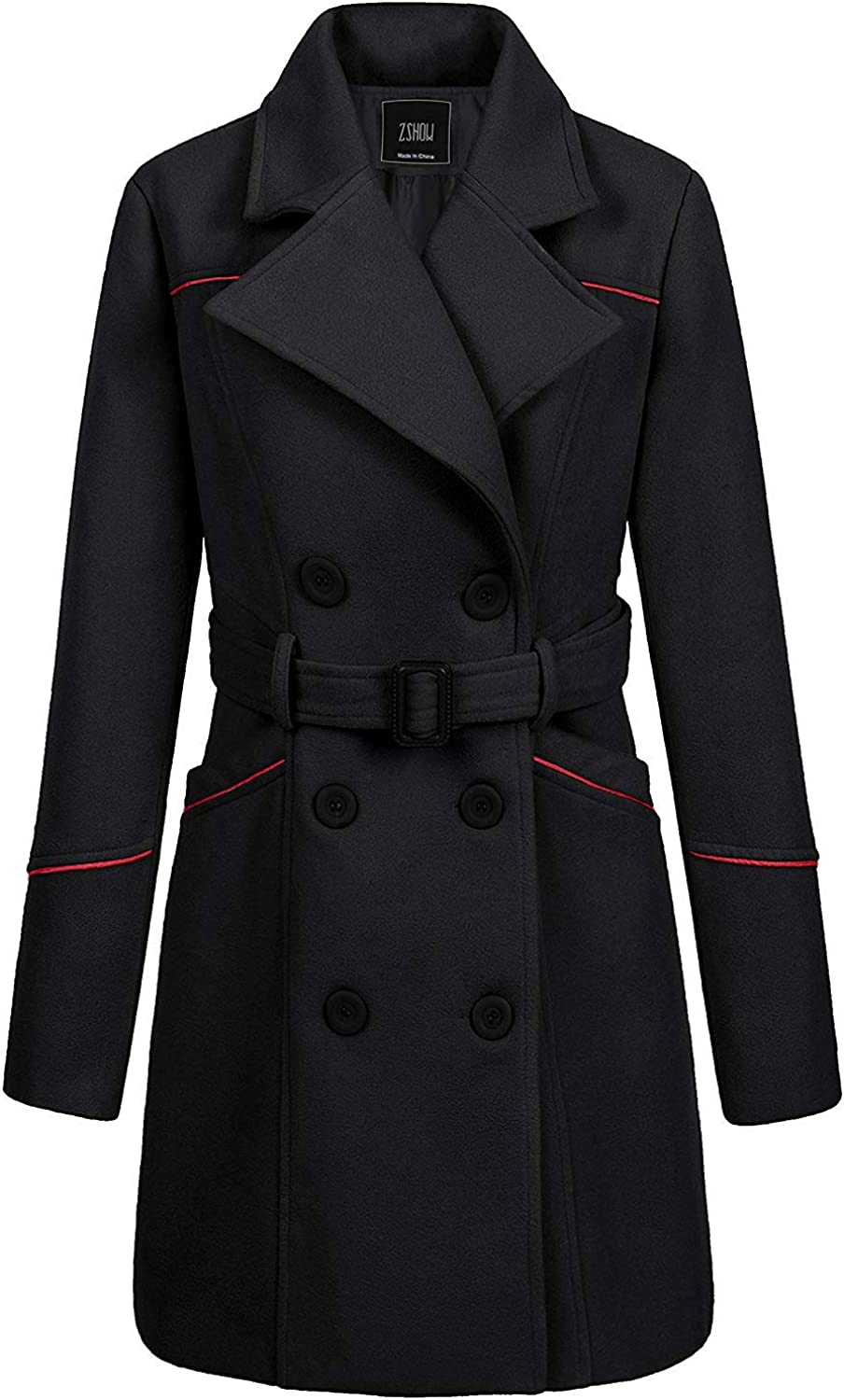ZSHOW Women's Double Clearance trust SALE Limited time Breasted Lapel Coat with Wrap Belt