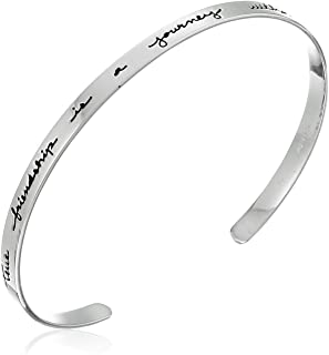 Sterling Silver True Friendship Cuff Bracelet, 7""