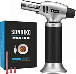 Sondiko Butane Torch, Refillable Kitchen Torch Lighter, Fit All Butane Tanks Blow Torch with Safety Lock and Adjustable Fl...