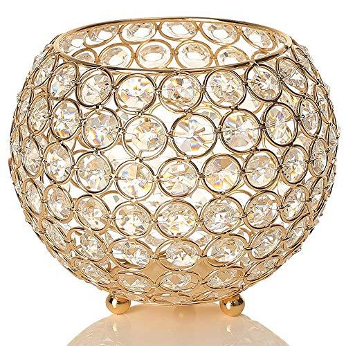 VINCIGANT Lanterna Decorativa della Candela di Cristallo d'oro di per Il Tavolo da Pranzo, Decorazioni Natalizie/Regalo di Natale