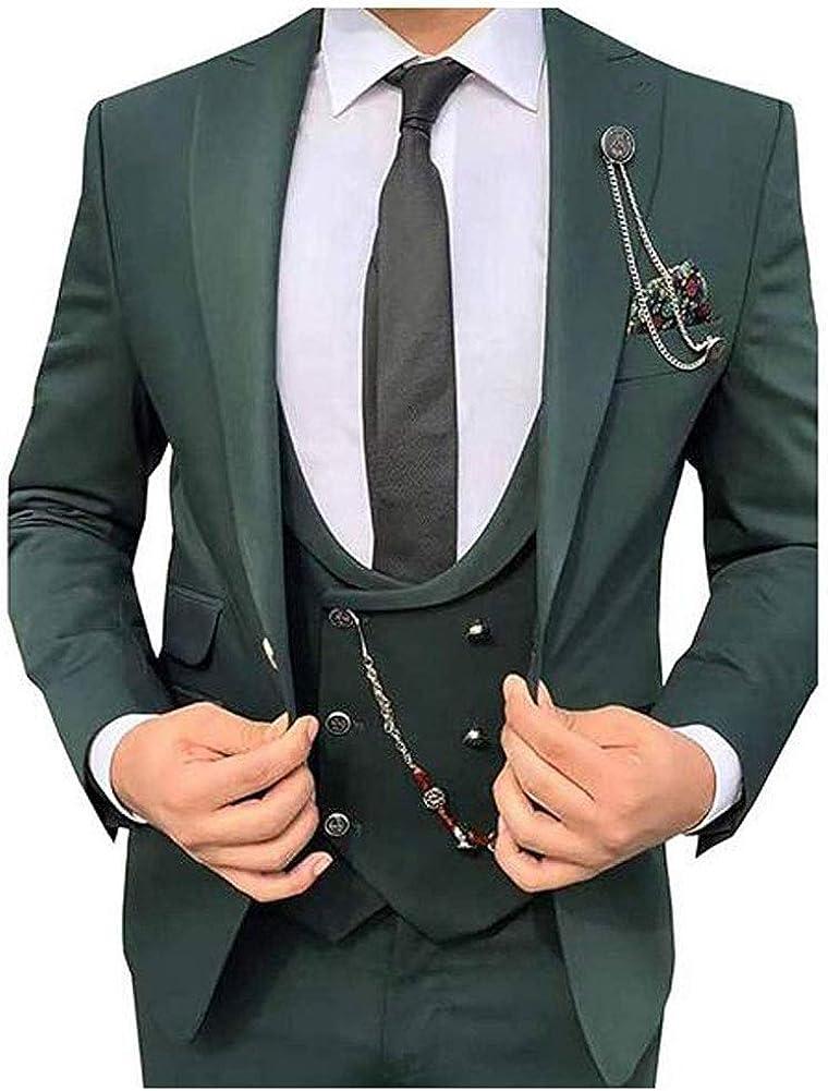Men's Slim Fit 3 PC Green Wedding Suits Notch Lapel Groom Tuxedos Prom Suits Business Suit