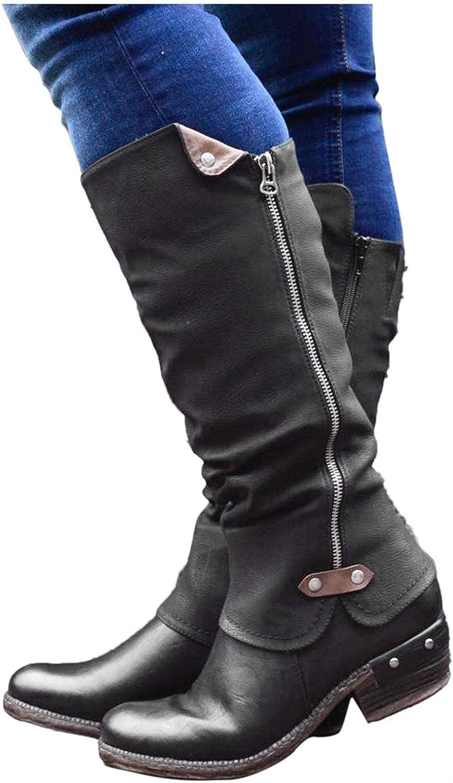 Eduavar Boots for Women Direct store Knee High Fashion Womens Max 78% OFF Zipper Side Chu