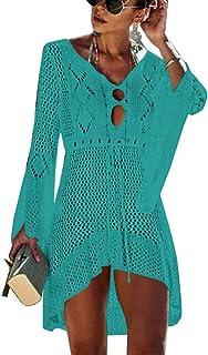 ee7bce6529 Walant Femmes Robe de Plage Manches Évasées Maillot de Bain Sexy Tricot  ajouré au Crochet Taille