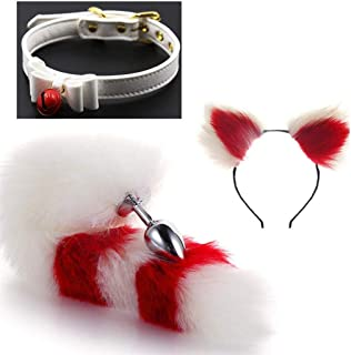 Cos Bell Collar-(Red&White)FluffyB-üttP-l-ǔ-gFox Tail Plush and Multicolor Cat Ears Anime Set For Women Glamour Female Masquerade Props 3pcs (Color : C, Size : S)