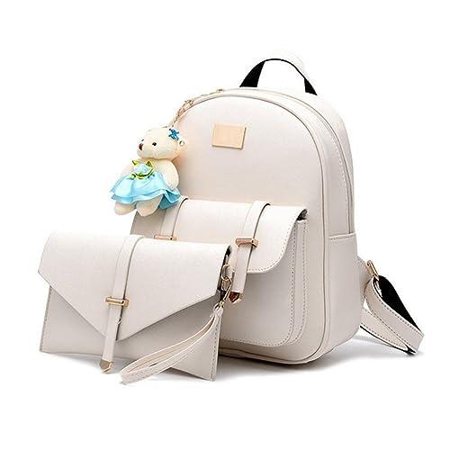 ccd055ce3696 Hynbase Set of 2 Fashion Women Casual Korean Leather Schoolbag Backpack  Shoulder Bag
